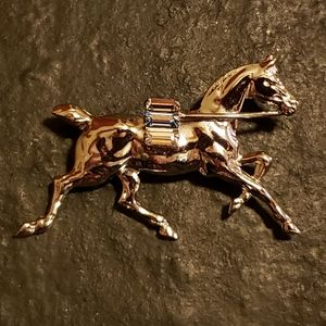 Sterling Silver and Faceted Stone Horse Pin Brooch
